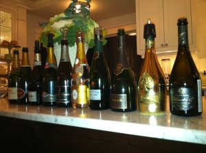 The Line-Up from our 2011 Champagne Tasting.