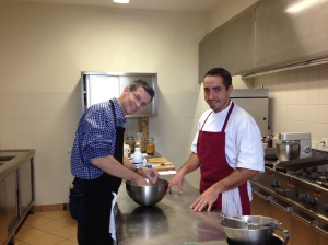 Bob and Jimmy working the pastry dough.
