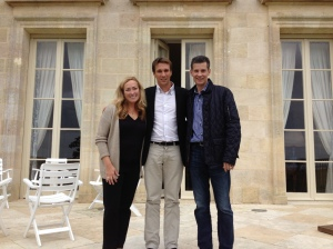 Bob and Christina with Phelan Segur winemaker Fabrice Bacquey.