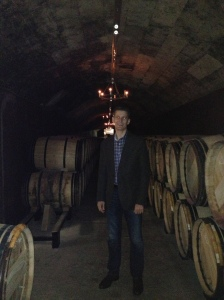 Bob in a cellar at Mouton Rothschild.