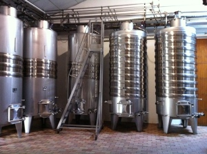 The tanks for the Blanc de Lynch Bages.
