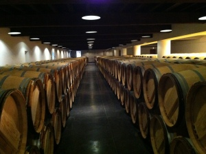 A barrel room.