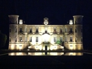 Chateau Pichon Baron by night.