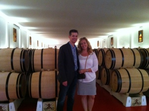 Bob and Christina in the barrel room.