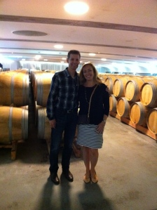 Bob and Christina Watt in the barrel room.
