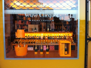 The store-front of the Badie Champagne shop at closing time.  The Bordeaux wine shop was directly across the street.
