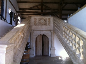 A staircase leading into the event space in the Chateau.