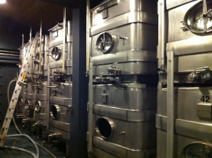 The stainless steel vats.