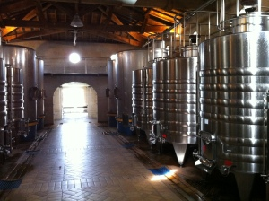 The stainless vats.