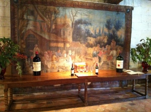 The tapestry in the tasting room.