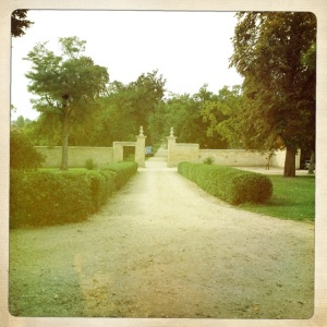 The driveway at Ch. Figeac.