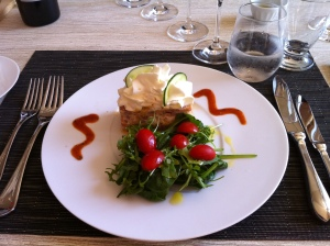 Fresh fish tartare with a simple side salad.