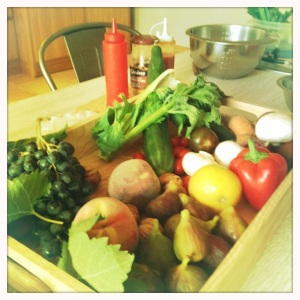 "Beautiful fresh produce - perfect for perfecting our ""slap chop"" skills!"